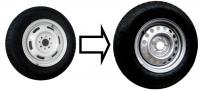 Замена колес 175/70/R13 на колёса 185/80/R14С в двухосном прицепе САНТЕЙ